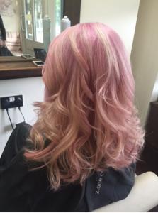 Pastel_hair_trend_Pink_shelleys_salon_shelley_pengillt_hairdressers_bridgend_glamorgan
